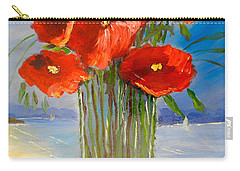 Carry-all Pouch featuring the painting Poppies On The Window Ledge by Pamela  Meredith