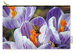 Popping Spring Crocus Carry-all Pouch by Debbie Oppermann