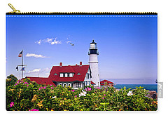 Portland Head Light And Roses Carry-all Pouch