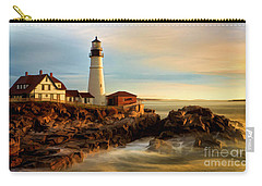 Portland Head Lighthouse At Dawn Carry-all Pouch