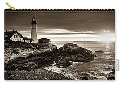 Carry-all Pouch featuring the photograph Portland Head Lighthouse Sunrise by Alana Ranney