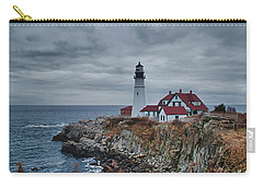 Carry-all Pouch featuring the photograph Portland Headlight 14440 by Guy Whiteley