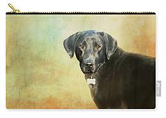 Portrait Of A Black Labrador Retriever Carry-all Pouch