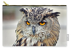 Carry-all Pouch featuring the photograph Portrait Of A Great Horned Owl II by Jim Fitzpatrick