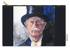 Carry-all Pouch featuring the painting Portrait Of A Man In Top Hat by Greta Corens