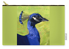 Carry-all Pouch featuring the painting Portrait Of A Peacock by Deborah Boyd
