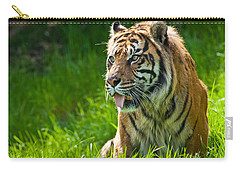 Carry-all Pouch featuring the photograph Portrait Of A Sumatran Tiger by Jeff Goulden