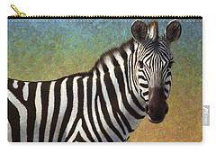 Carry-all Pouch featuring the painting Portrait Of A Zebra by James W Johnson