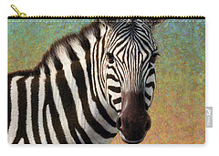 Carry-all Pouch featuring the painting Portrait Of A Zebra - Square by James W Johnson