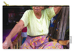Carry-all Pouch featuring the photograph Portrait Of Elderly Burmese Lady Sitting In Front Of Home 33rd Street Chanayethazan Mandalay Burma by Ralph A  Ledergerber-Photography