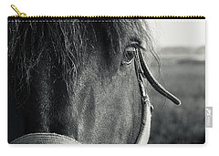 Portrait Of Horse In Black And White Carry-all Pouch