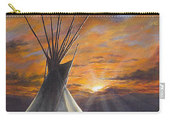 Carry-all Pouch featuring the painting Prairie Sunset by Kim Lockman