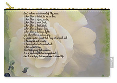 Prayer Of St. Francis And Yellow Rose Carry-all Pouch