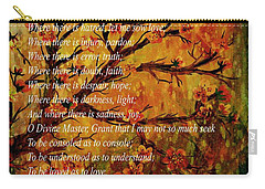 Prayer Of St. Francis Of Assisi  And Cherry Blossoms Carry-all Pouch