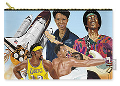 Carry-all Pouch featuring the digital art Jimi, Muhammad Ali, Wilt Chamberlain And Mae Carol Jemison by Thomas J Herring