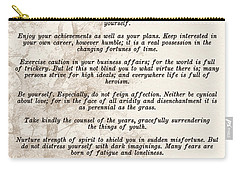 Prose Poem Desiderata By Max Ehrmann  Carry-all Pouch by Olga Hamilton