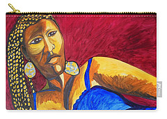 Carry-all Pouch featuring the painting Proud Sheruba Ethiopian Braids by Esther Newman-Cohen
