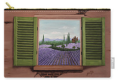 Carry-all Pouch featuring the painting Provence Lavander Fields Original Acrylic by Georgeta Blanaru