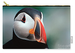 Carry-all Pouch featuring the photograph Puffin Head Shot by Jerry Fornarotto