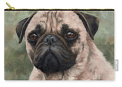 Pug Portrait Painting Carry-all Pouch by Rachel Stribbling