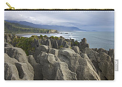 Carry-all Pouch featuring the photograph Punakaiki Pancake Rocks by Stuart Litoff