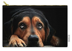 Carry-all Pouch featuring the mixed media Puppy Dog Eyes by Christina Rollo