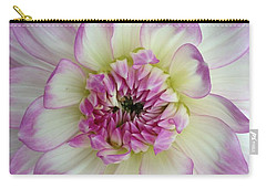 Carry-all Pouch featuring the photograph Purple And Cream Dahlia by Jeannie Rhode
