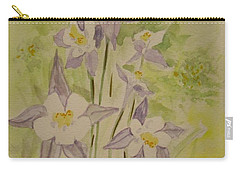 Purple And White Columbines Carry-all Pouch