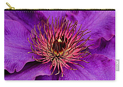 Carry-all Pouch featuring the photograph Purple Clematis by Suzanne Stout