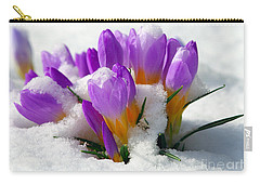 Purple Crocuses In The Snow Carry-all Pouch