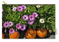Purple Daisies And A Touch Of Orange Carry-all Pouch by Jean Goodwin Brooks