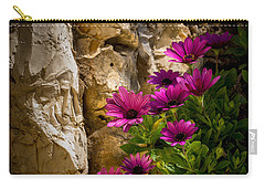 Purple Flowers And Rocks Carry-all Pouch