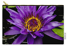 Carry-all Pouch featuring the photograph Purple Lotus Water Lilies by James C Thomas