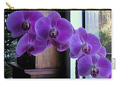 Carry-all Pouch featuring the photograph Purple Orchid by AJ  Schibig