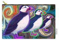 Carry-all Pouch featuring the mixed media Purple Puffins by Teresa Ascone