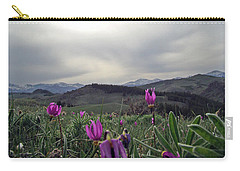 Carry-all Pouch featuring the digital art Purple Spring In The Big Horns by Cathy Anderson