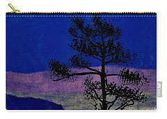 Carry-all Pouch featuring the drawing Purple Sunset Bay by D Hackett