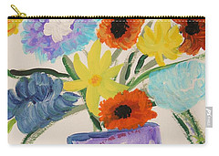 Carry-all Pouch featuring the painting Purple Vase Filled by Mary Carol Williams