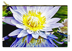Purple Petals Water Lily In Reflective Pond Carry-all Pouch by Carol F Austin
