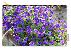 Purple Wave Petunias In Rusty Horse Drawn Spreader Carry-all Pouch