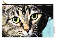 Carry-all Pouch featuring the photograph Purrfectly Bright Eyed by Nina Silver