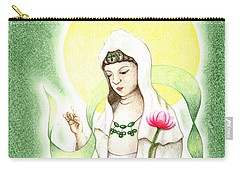 Carry-all Pouch featuring the drawing Quan Yin by Keiko Katsuta
