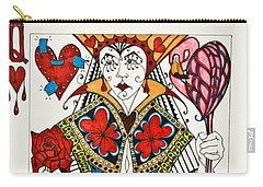 Carry-all Pouch featuring the drawing Queen Of Hearts - Wip by Jani Freimann