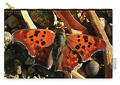 Carry-all Pouch featuring the photograph Question Mark Butterfly by Donna Brown