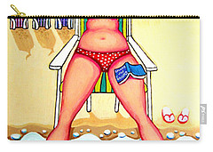 R And D - Woman On Beach Carry-all Pouch by Rebecca Korpita