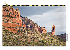 Carry-all Pouch featuring the photograph Rabbit Ears Spire At Sunset by Jeff Goulden