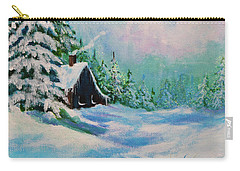 Carry-all Pouch featuring the painting Rabbits Waiting For Spring by Bob and Nadine Johnston