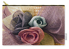 Raffia Roses Macro Carry-all Pouch by Sandra Foster