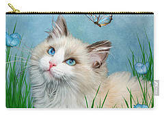 Carry-all Pouch featuring the mixed media Ragdoll Kitty And Butterflies by Carol Cavalaris