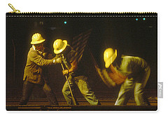 Carry-all Pouch featuring the photograph Railroad Workers by Mark Greenberg